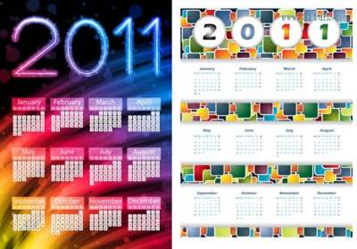 2011 calendar templates modern colorful abstract decor 289180