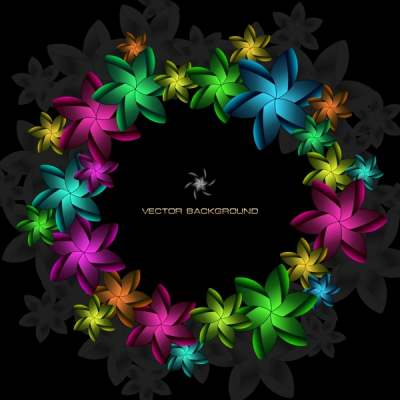 decorative background floral wreath icon dark colorful decor 289376