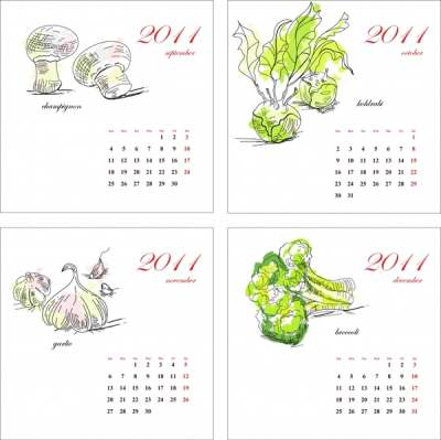 2011 calendar templates vegetables themes handdrawn sketch 289230