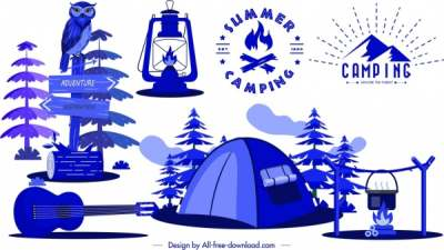 camping design elements tent guitar campfire lamp sketch 6840948