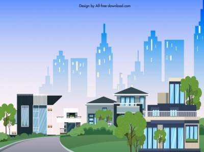 city scene background colorful modern design cartoon sketch 6840564