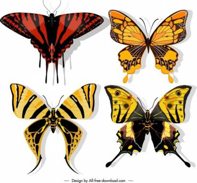 butterflies icons dark colorful flat sketch 6840681
