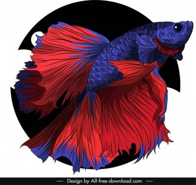 ornamental fish icon red violet sketch 3d design 6841034