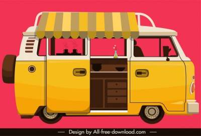 vendor bus icon yellow classical sketch 6841025