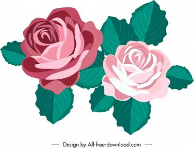 rose flower icon colored classical sketch 6841041