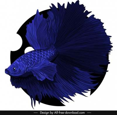 ornamental fish icon dark blue 3d design 6841035