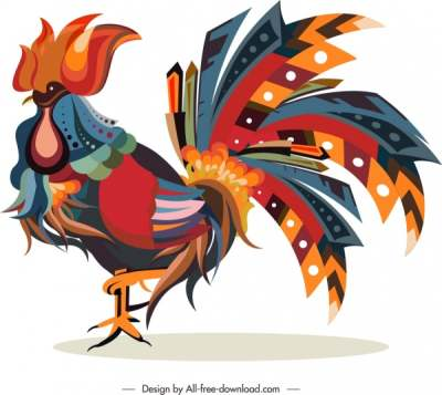 cock animal icon colorful feathers decor 6840758