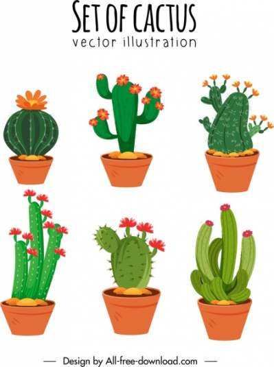 cactus pots icons flora thorny shapes sketch 6840764