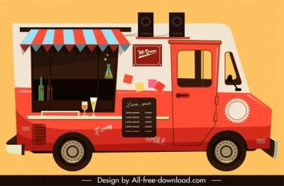 restaurant car icon flat colored classical sketch 6841028