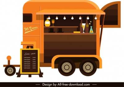 restaurant car icon colored classical sketch elegant decor 6841029