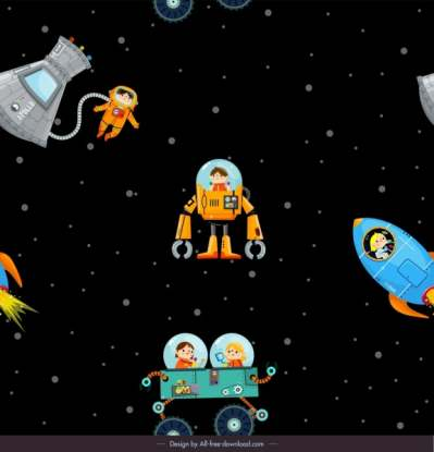 space background astronaut spaceship icons cartoon sketch 6840756
