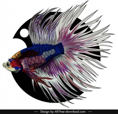 ornamental fish icon elegant gaudy tail sketch 6841036