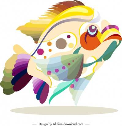 fish animal icon colorful flat sketch 6840757