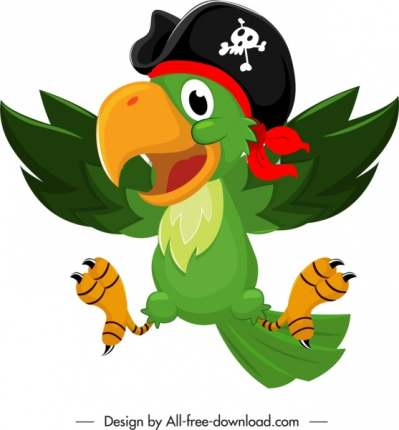 pirate parrot icon colorful funny cartoon sketch 6840791