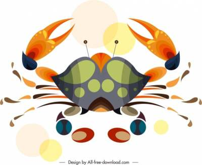 crab animal icon classical colorful flat sketch 6840759