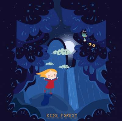 dreaming background dark blue design kid forest icons 6832127