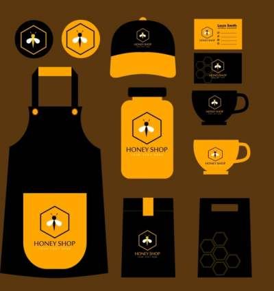 honey shop identity sets black yellow bee icon 6830600