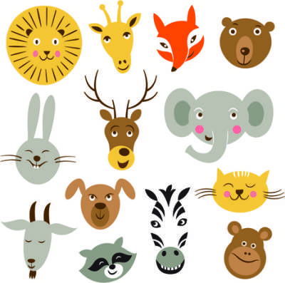 different-animals-heads-vector_542809