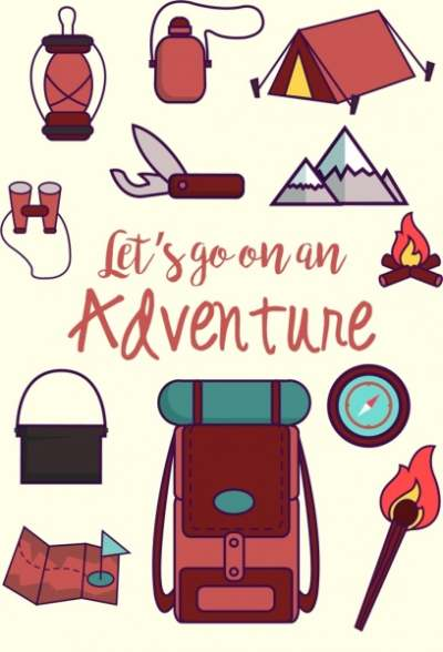 adventure banner camping design elements decor 6834389