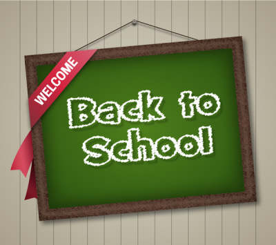 back to school illustration with text on chalkboard 6824295