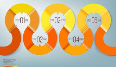 infographic template shiny curved orange line decor 6836594
