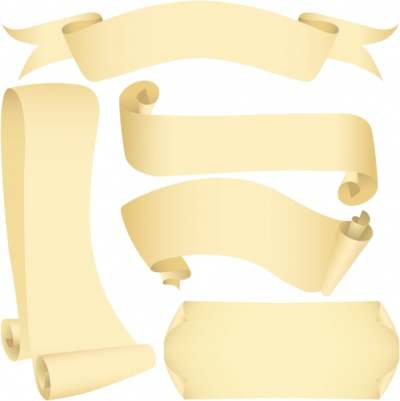 paper ribbon icons 3d yelllow sketch 286616
