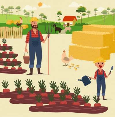 farming work theme colored cartoon decor 6831590