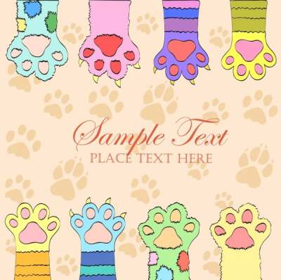 cat footprints background flat colorful decoration 6832386