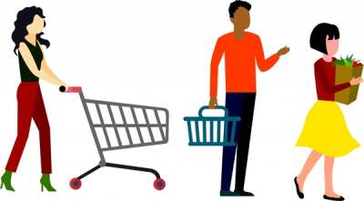shopping concept design human with cart isolation 6826345