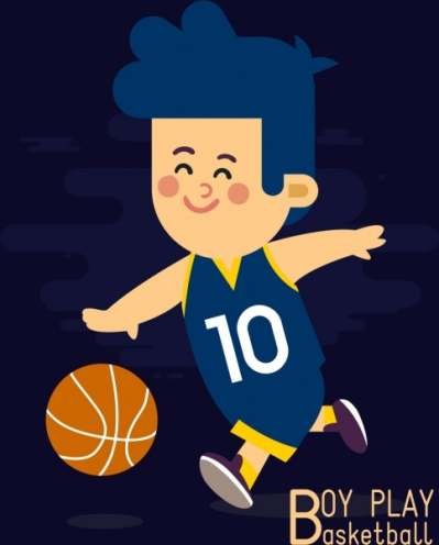 childhood drawing boy play basketball icon colored cartoon 6833865