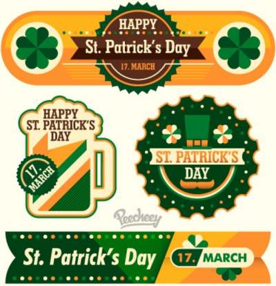 fancy st patricks day stickers and banner set 6821035