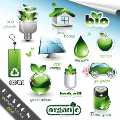 ecology design elements modern shiny green symbols 287091