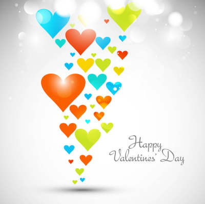 beautiful hearts for happy valentines day card fantastic background vector 6819299